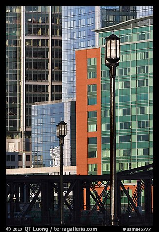 Lamps and high-rise facades. Boston, Massachussets, USA