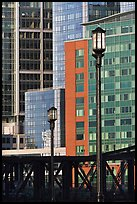 Lamps and high-rise facades. Boston, Massachussets, USA ( color)
