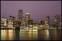 Financial district night skyline. Boston, Massachussets, USA ( color)