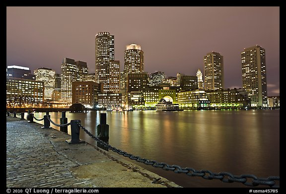 Night skyline above harbor. Boston, Massachussets, USA