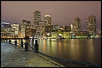 Night skyline above harbor. Boston, Massachussets, USA ( color)