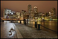 Wharf and skyline by night. Boston, Massachussets, USA ( color)
