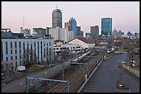 Railway, Northeastern University, and skyline at dusk. Boston, Massachussets, USA (color)