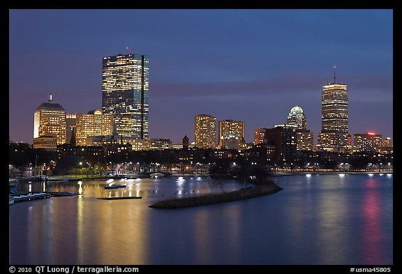 Back Bay skyline at night. Boston, Massachussets, USA (color)