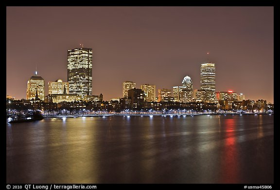 Charles River and Back Bay skyline by night. Boston, Massachussets, USA (color)