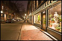 Flower shop by night, Beacon Hill. Boston, Massachussets, USA ( color)