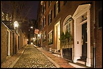 Cobblestone narrow street by night, Beacon Hill. Boston, Massachussets, USA ( color)