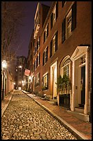 Cobblestone alley by night, Beacon Hill. Boston, Massachussets, USA (color)