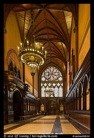 Gothic vault above marble floor and black walnut paneling, Memorial Hall, Harvard University, Cambridge. Boston, Massachussets, USA (color)