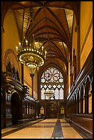 Gothic vault above marble floor and black walnut paneling, Memorial Hall, Harvard University, Cambridge. Boston, Massachussets, USA