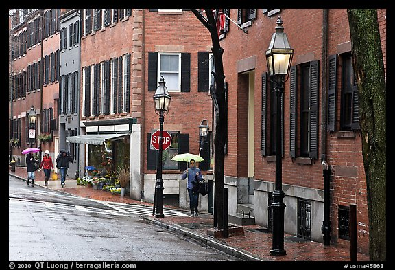 Beacon Hill street in the rain. Boston, Massachussets, USA (color)