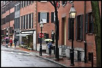 Beacon Hill street in the rain. Boston, Massachussets, USA