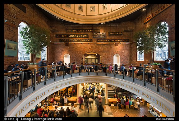 Quincy Market dome,  Faneuil Hall Marketplace. Boston, Massachussets, USA (color)