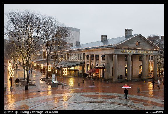Faneuil Hall Marketplace on rainy day. Boston, Massachussets, USA (color)