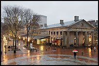 Faneuil Hall Marketplace on rainy day. Boston, Massachussets, USA