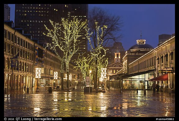 Faneuil Hall festival marketplace at night. Boston, Massachussets, USA (color)