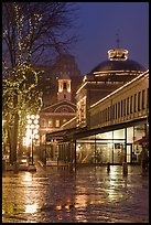 Quincy Market and Faneuil Hall at night. Boston, Massachussets, USA