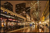 Rainy evening, Faneuil Hall marketplace. Boston, Massachussets, USA