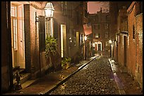 Picturesque cobblestone street on rainy night, Beacon Hill. Boston, Massachussets, USA