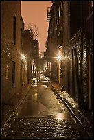 Dark alley on rainy night, Beacon Hill. Boston, Massachussets, USA