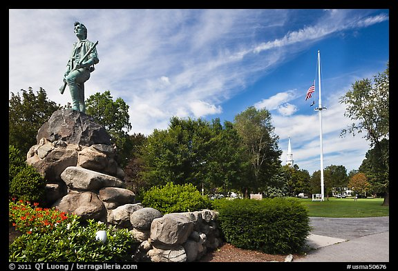 Hayes Memorial Fountain, Battle Green, Lexington. Massachussets, USA (color)