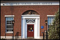 US Post Office brick building facade, Lexington. Massachussets, USA (color)