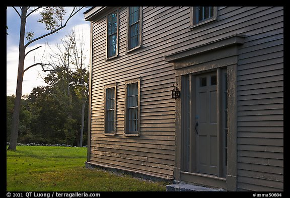 Historic house with grazing light, Minute Man National Historical Park. Massachussets, USA (color)