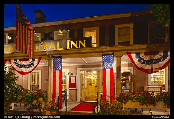 Colonial Inn restaurant at night, Concord. Massachussets, USA (color)