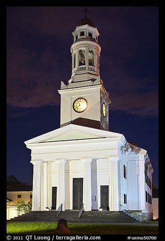 First Parish at night, Concord. Massachussets, USA (color)