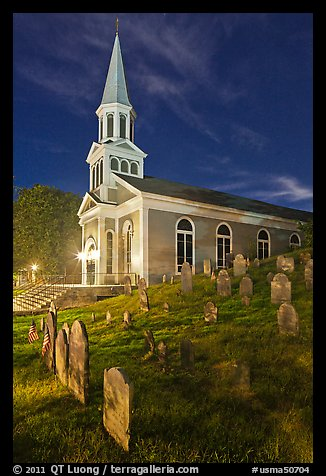 Cemetery and church at night, Concord. Massachussets, USA (color)