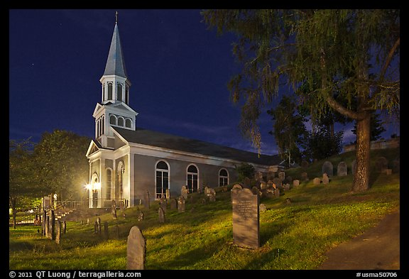Holly Family church and graveyard at night, Concord. Massachussets, USA (color)