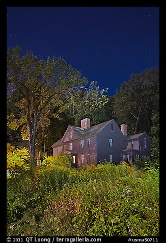 Louisa May Alcott Orchard House at night. Massachussets, USA