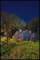 Louisa May Alcott Orchard House at night. Massachussets, USA ( color)