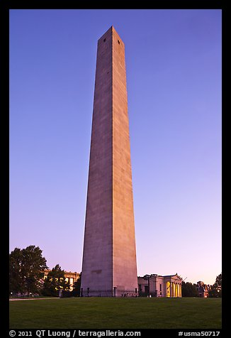 Bunker Hill Monument, sunrise, Charlestown. Boston, Massachussets, USA
