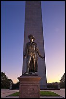 Statue of Col. William Prescott and Bunker Hill Monument, Charlestown. Boston, Massachussets, USA (color)