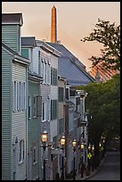Houses on Breeds Hill at dawn, Charlestown. Boston, Massachussets, USA (color)