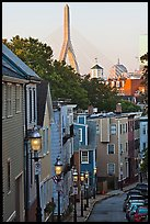 Steep stret on Breeds Hill, with bridge in background, Charlestown. Boston, Massachussets, USA ( color)