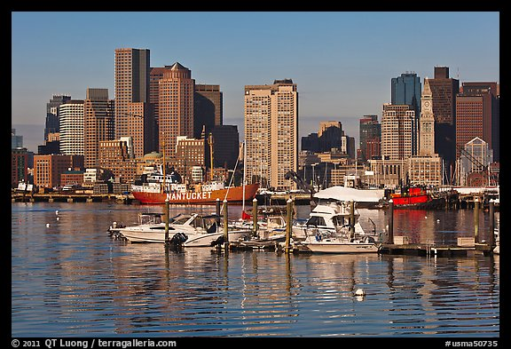 Bostron harbor and financial district. Boston, Massachussets, USA (color)
