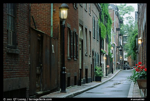 Narrow street on Beacon Hill. Boston, Massachussets, USA