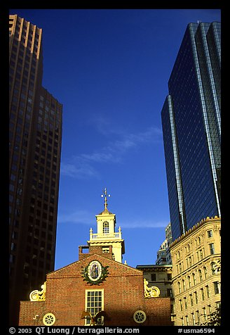 Old State House and Financial District skyscrapers. Boston, Massachussets, USA