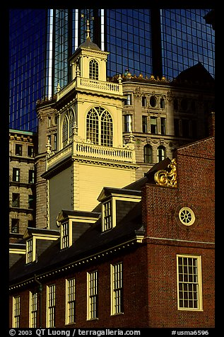 Old State House and modern buildings in downtown. Boston, Massachussets, USA (color)