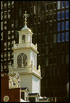 Old State House (oldest public building in Boston) and glass facade. Boston, Massachussets, USA (color)