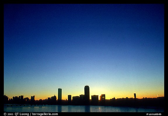 Downtown seen across the Charles River, winter sunrise. Boston, Massachussets, USA (color)