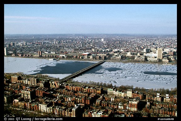Frozen Charles River seen from the Prudential Tower. Boston, Massachussets, USA (color)