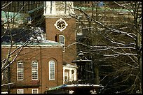 Historic church and snow covered branches. Boston, Massachussets, USA (color)