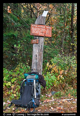 Backpack and marker for last 100 miles, wildest of Appalachian trail. Maine, USA (color)