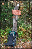 Backpack and marker for last 100 miles, wildest of Appalachian trail. Maine, USA ( color)
