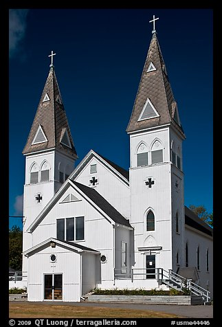 White church with double bell towers, Greenville. Maine, USA (color)