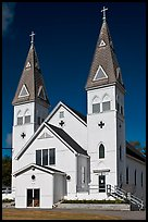 White church with double bell towers, Greenville. Maine, USA ( color)