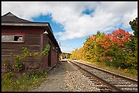 Railroad track and abandonned station, Greenville Junction. Maine, USA ( color)